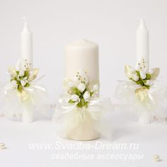6 свадебные свечи White Candles, Pillar Candles, Flower Decorations, Wedding Decorations, Wedding Gift Baskets, Baptism Candle, Decorated Wine Glasses, Candle Art, Wedding Unity Candles