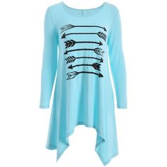 Long Sleeve Arrow Print Tee (41 BAM) via Polyvore featuring tops, t-shirts, longsleeve t shirts, long sleeve tees, longsleeve tee, long sleeve tops and blue long sleeve t shirt