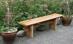 Japanese garden bench wood materials for decoration garden ideas with palnters flower in pots