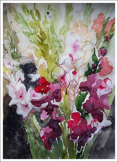 Гладиолусы и Элиза с жабами и цветами - Mirta Groffman