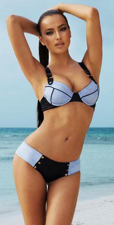 Beach Bunny 2014 Sexy Divide Denim Push Up Bikini #Bikinis