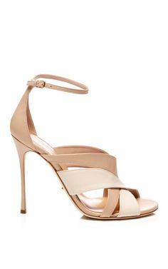 Two-Tone Leather Sandals by Sergio Rossi Now Available on Moda Operandi