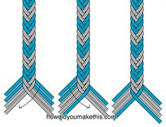 Chevron fishtail braid, v.2 - 8 strands, 4 each of two colors. Cut strands 30% longer than intended finished length. Start the braid by arranging the strands with 2 of one color on the left, 4 of the other color in the center, & 2 of the first color on the right (the way the strands are shown at the bottom left of the diagram.) Move the strand that is farthest right to the inside left; then move the strand that is farthest left to the inside right. Repeat to desired length. #handmade…