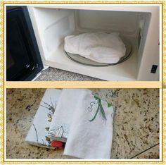 Como limpar pano de prato no microondas. Fica branquinho e com cara de novo.