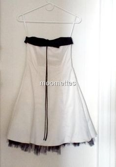 White Black Strapless Short Tulle Lace Grad Prom Dress Urban Girl Nites 3 4 #UrbanGirlNites #TeaDress #Formal