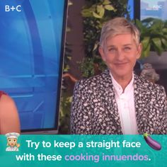 Try to keep a straight face during these cooking show innuendos.,Funny, Funny Categories Fuunyy Try to keep a straight face during these cooking show innuendos. Ellen DeGeneres cannot stop laughing! Source by brit. Ellen Degeneres Videos, Meme Rindo, Funny Video Memes, Funny Videos, Funny Jokes, Ellen And Portia, Laughing Jokes, Funny Black Memes, Funny Pictures Can't Stop Laughing