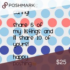 Shares This is a great way to expose new closets. Also check out the sale I have going on at my closet. Happy Poshing Other