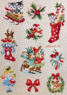Assorted Xmas designs, beautifully stitched.
