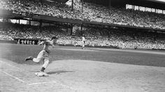 July 15th 1941 - Game 55 in the books, as the #Yankees Joe DiMaggio rounds 1st, on his way to 56-game streak