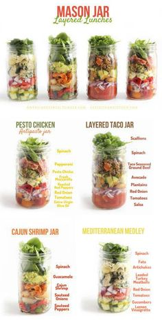 Healthy Food Friday: Spinach {Mason Jar Layered Lunches} (Lexi's Clean Kitchen - Do It yourself Mason Jar Lunch, Mason Jars, Mason Jar Meals, Meals In A Jar, Canning Jars, Mason Jar Recipes, Glass Jars, Clean Eating Snacks, Healthy Eating