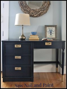Retro Coastal Blue Desk by Saw Nail and Paint Desk Redo, Desk Makeover, Furniture Makeover, Paint Furniture, Furniture Projects, Furniture Market, Coastal Furniture, Furniture Design, Refurbished Desk