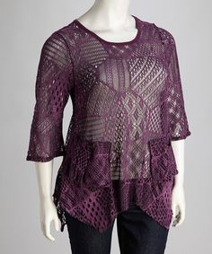 Take a look at this Purple Crocheted Plus-Size Top by Lily on #zulily today!