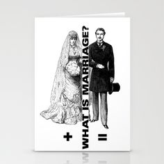 Unity Stationery Cards by Mike Brennan - $12.00 Marriage #man #wife #groom #bride #wedding #card #GreetingCard #retro #union