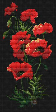 Buy 1 GET 1 FREE Cross stitch pattern PDF - Poppies on black flower modern floral counted easy embroidery flowers cute cross stitch chart Counted Cross Stitch Patterns, Cross Stitch Designs, Cross Stitch Embroidery, Embroidery Patterns, Hand Embroidery, Cross Stitch Beginner, Cross Stitch Rose, Cross Stitch Flowers, Cute Cross Stitch
