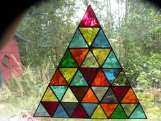 Stained Glass Triangle window hanging by ravenglassgirl on Etsy