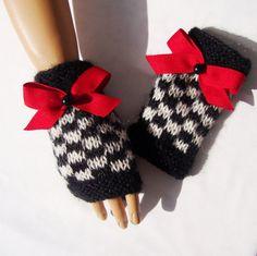 Hand Knit Gloves Black White Mitten Armwarmer Handmade by Pasin, $32.00