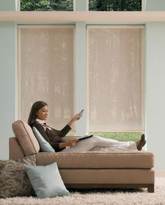 Enjoy easy living with motorized Designer Roller Shades featuring remote control operation for the ultimate in convenience. ♦ Hunter Douglas window treatments #MotorizedWindowTreatments