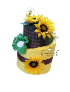 Sunflower Topsy Turvy Diaper Cake   Baby Shower, Centerpiece, Baby Gift,  Bumble Bee
