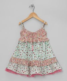 This Pink & Mint Drawstring Beaded Swing Dress - Toddler & Girls by Ma Petite Amie is perfect! #zulilyfinds