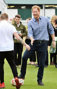 The fun-loving royal was delighted to get the opportunity to enjoy a kick about ...