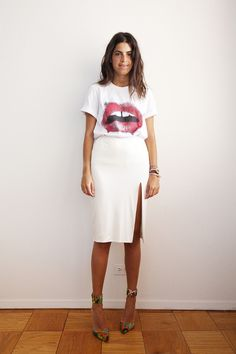 white pencil skirt + statement tee.