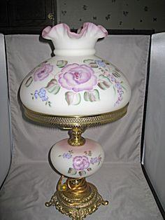 Antique Oil Lamps, Vintage Lamps, Vintage Lighting, Fenton Lamps, Fenton Glassware, Chandelier Lamp, Chandeliers, Glass Lamps, Glass Art