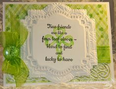 Congrats Laurene!!! Well GREEN is the color of the day with this card: http://www.splitcoaststampers.com/gallery/photo/2614493?&cat=500&ppuser=52503 My bg is stamped and I stamped the Infinity Shamrock in green then colored in with Copics. I looked at Laurene's card and just saw St. Patrick's Day what can I say! The button is BoBunny, threaded with floss then glued to the bow. Thanks for looking!