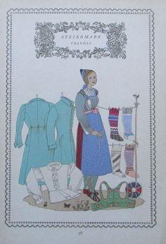 STEIERMARK TRAGÖSS 1937 Alpenländer alter Druck Tracht print national costume