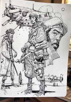 Enjoy an original collection of Sketches by Ian McQue. Ian is a concept artist/illustrator. Art And Illustration, Character Illustration, Sketchbook Inspiration, Art Sketchbook, Comic Kunst, Comic Art, Drawing Sketches, Art Drawings, Sketching