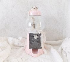 Shabby Romantic Chic Pink Gumball Machine Holiday Waterless Snow Globe by madistreasures on Etsy https://www.etsy.com/listing/473722328/shabby-romantic-chic-pink-gumball