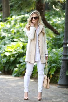 Ann Taylor neutral spring topper, neutral tan and white spring jacket, Christian Louboutin pigalle plato platform nude pump, Adriano Goldschmied white legging ankle jean, Louis Vuitton St. Germain dune shoulder bag