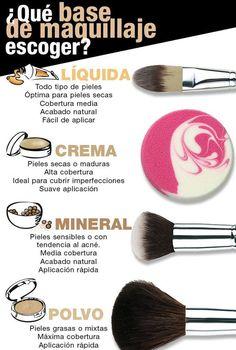 Qué bases de maquillaje escoger? Entérate de muchos otros tips en... http://www.1001consejos.com/category/belleza/