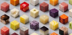 Arte com comida: 98 alimentos diferentes cortados em cubos idênticos