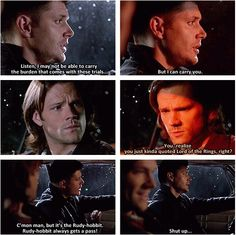 "You realise you just kinda quoted ""Lord of the Rings"" right? #Supernatural"