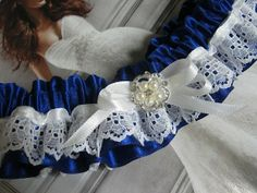 Royal Blue Garter with Pearls by bridesstudio on Etsy, $25.00