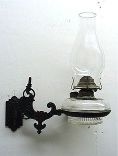 Wall Mount Kerosene Glass Lamp with Iron Bracket  $105