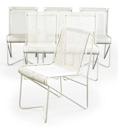 A SET OF SIX MATHIEU MATÉGOT ENAMELLED STEEL 'CASABLANCA' DINING CHAIRS 1953 welded and perforated steel 30 in. (78 cm.) high (6)