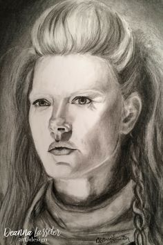 Lagertha from Vikings charcoal realistic portrait