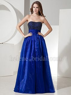 A-Line Ball Gown Princess Strapless Sweetheart Long / Floor-Length Satin Organza Prom Dress - US$ 159.99 - Style PD6328 - Helene Bridal