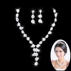 wedding bridal rhinestone crystal party jewelry necklace earrings set fashion