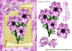 PRETTY PINK FLOWERS ON A SCROLL on Craftsuprint - Add To Basket!