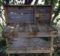 A potting bench made from reclaimed wooden pallets.  This could be nice next to my shed in the shade.