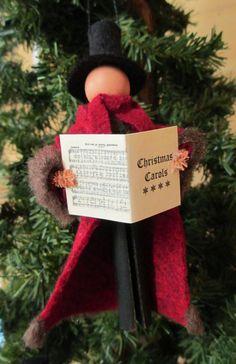 Christmas Caroler Ornament Caroler Man Clothespin Ornament | Etsy