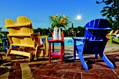 I love these Poly Lumber chairs.  They are so comfortable and environmentally friendly.  They are made from recycled milk carton jugs.  They come in so many colors and look great in any back yard or patio.