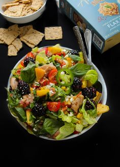 This post is sponsored by Blue Diamond Nut Thins. A flavorful, 30-minute arugula salad with grilled chicken, bacon, cherry tomatoes, corn, blackberries, peaches, fresh basil, thyme & more! Plus atangy dijon vinaigrette! Dinner at our house pretty much always follows two guidelines: simple + tasty.This ratatouille with whipped feta, quinoa salad, cajun salmon, almond chicken …