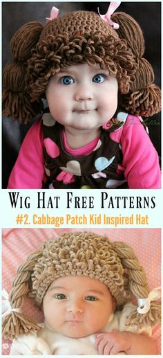 Wig Hat Free Crochet Patterns For Halloween Crochet Cabbage Patch Kid Inspired Hat Free & Paid Pattern- Free Patterns For Halloween Cabbage Patch Kids Costume, Cabbage Patch Hat, Cabbage Patch Babies, Crochet Wig Pattern, Bonnet Crochet, Hat Patterns, Hat Crochet, Crochet Kids Hats, Maternity Pictures