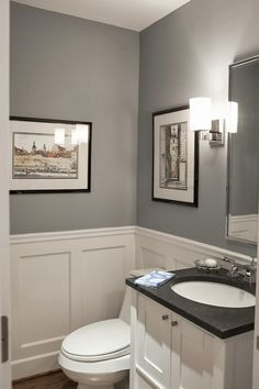 wall color and trim for powder room Pikes Peak Gray - Benjamin Moore. Traditional Powder Room by Larchmont Interior Designers & Decorators Interior, Powder Room, Remodel, Bathroom Makeover, Home Decor, Downstairs Bathroom, Bathrooms Remodel, Bathroom Design, Bathroom Decor