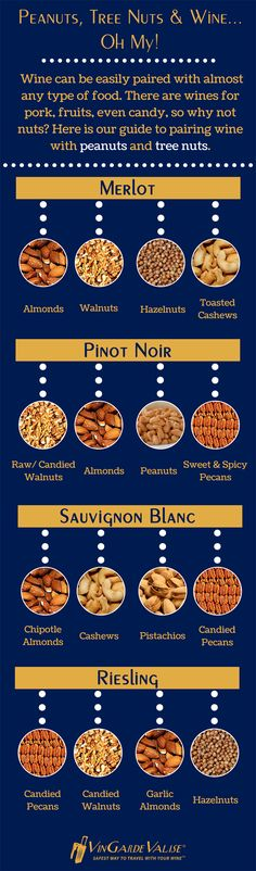 Wine can be easily paired with almost any type of food. There are wines for pork, fruits, even candy, so why not nuts? Here is our guide to pairing wine with peanuts and tree nuts.