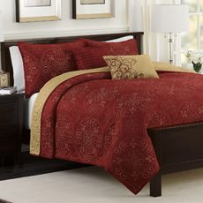 $80  red/gold reversible medallion quilt set with 2 decorative pillows