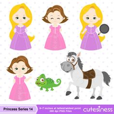 Princess Series 14 Digital Clipart : 19 Graphics ----------------------- ★★ Package Included ★★----------------------------------- *You will received a total of 19 Files in PNG Format with TRANSPARENT background, Size of 6~7 Inches at tallest/widest point of 300 DPI resolution. * 5